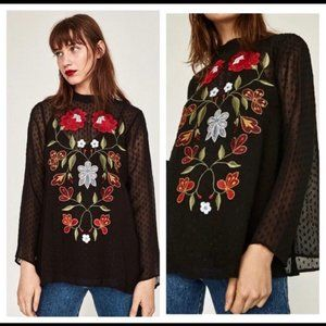 Zara Blouse Black Sheer Embroidered Floral Small